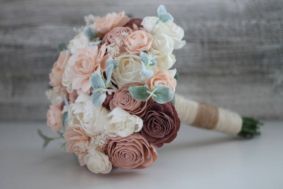 Shabby Chic Bridal Bouquet Wooden Flowers Shabby Chic Etsy