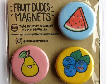 Fruit Magnets | Refrigerator Magnets | Fridge Magnets | Locker Magnets | Kitchen Artwork | Vegetarian Gifts | Vegan | Kawaii Magnets | Cute