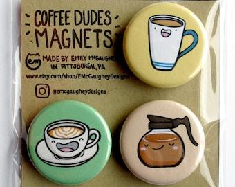 Coffee Magnets | Refrigerator Magnet | Fridge Magnet | Locker Magnet | Magnetic | Kawaii Magnet | Kawaii Illustration | Latte | Magnet Pack