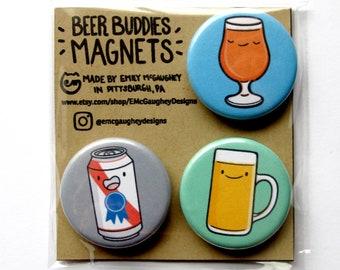 Beer Magnets | Refrigerator Magnet | Fridge Magnet | Locker Magnet | Magnetic | Kawaii Magnet | Kawaii Illustration | Magnet Pack