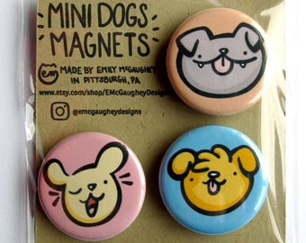Mini Dogs Magnet Pack | Refrigerator Magnets | Fridge Magnets | Locker Magnets | Kawaii Magnets | Vector Illustration
