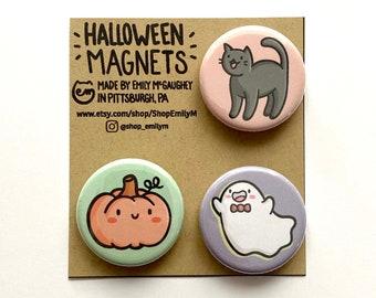 Halloween Magnet Pack | Halloween Decoration | Refrigerator Magnets | Fridge Magnets | Locker Magnets | Kawaii Illustration | Ghosts | Cat