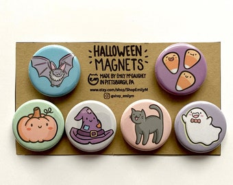 Halloween Magnets 6 Pack | Halloween Decoration | Refrigerator Magnets | Kawaii Art | Black Cat | Ghost | Witch Hat| Candy Corn| Cute Magnet