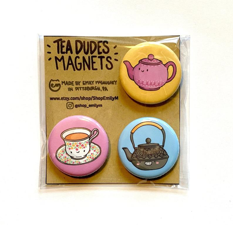 Tea Magnet Pack  Refrigerator Magnets  Kawaii Fridge Magnets image 1