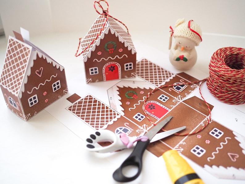 Gingerbread house favor box Christmas treat box printable  image 8