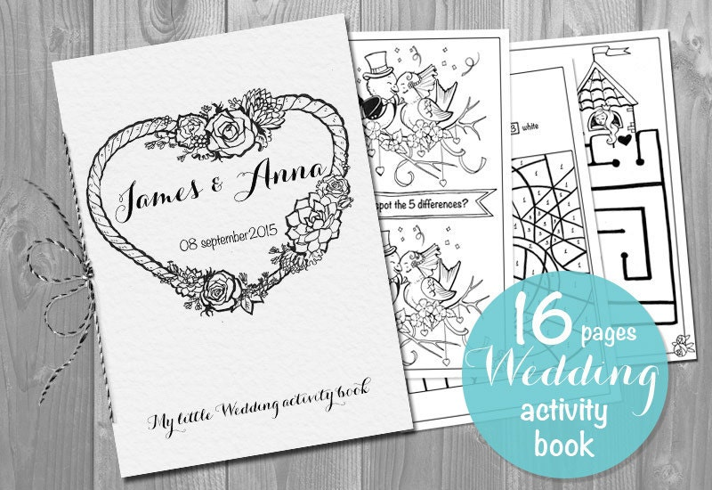 This is an image of Simplicity Printable Wedding Activity Book
