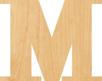 Hobbyist Lowercase Letter m Wooden Laser Cut Out Shape D.I.Y Projects Great for Crafting