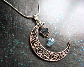 Crescent Moon and Star Charm Necklace, Star Necklace, Space Necklace, Wiccan Jewelry, Pagan Jewelry, Moon Jewelry,