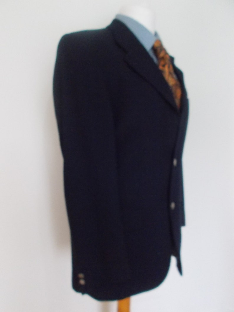 Vintage mens Navy Blazer jacket by Kenzo wool with logo buttons 40 chest Medium
