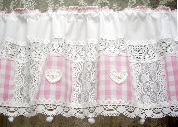 Rideau rideau de Bistro, travail au crochet dentelle crème coeur 26 cm