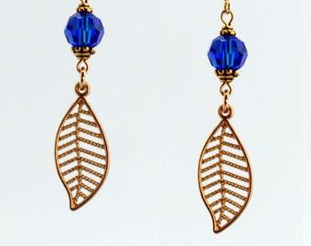 Capri Blue/Gold Leaf Earrings - E2658 - Free Shipping