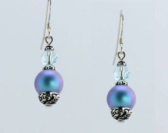 Light Blue Iridescent Pearl Earrings - E2771 - Free Shipping