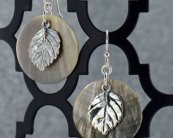 Brown Shell and Silver Leaf Earrings - E2477 - Free Shipping