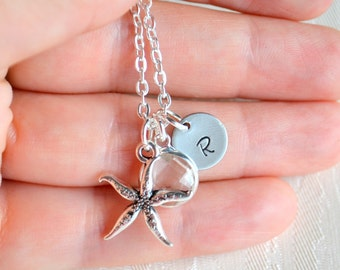 Beach wedding Starfish necklace Personalized bridesmaid jewelry with initials and starfish, Bridesmaids gifts, Bridesmaids necklace