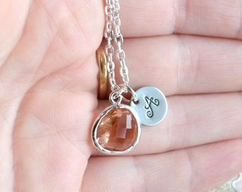 Peach necklace Personalized Necklace Jewelry Peach Necklace Bridesmaid Jewelry Bridesmaid Gift Necklace Gift for Her Jewelry