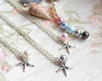 Bridesmaid proposal Bridesmaid gift set of 4 Starfish necklace Bridesmaid necklace Bridesmaid Jewelry Starfish jewelry Beach necklace