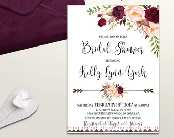 boho bridal shower invitation printable floral bridal shower invite burgundy blush bridal shower rustic bridal shower digital or printed