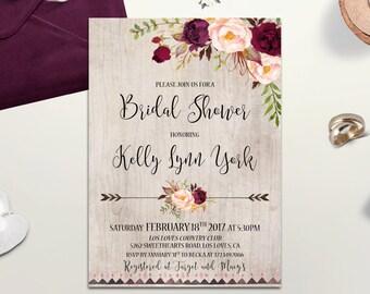 Burgundy Bridal Shower Invitation Printable Boho Bridal Shower Invite Rustic Bridal Shower Marsala Fall Winter Floral Bridal Shower invite