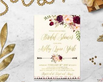 Burgundy Gold Bridal Shower Invitation Printable Boho Bridal Shower Invite Marsala Blush Bridal Shower Peony Floral Bridal Shower Digital