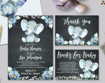 Elephant Baby Shower Invitation Boy Etsy