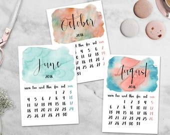 2018 Calendar Printable Watercolor Calendar 5x7 Desk Calendar Mini Calendar Colorful Monthly Calendar Office Decor Instant Digital Download