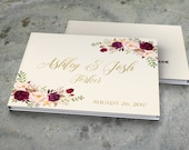 Wedding Guest Book Burgundy Gold Wedding Guestbook Bohemian Floral Wedding Album Personalized Wedding Keepsake Book Rustic Wedding Journal