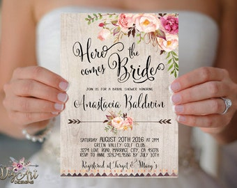 Floral Bridal Shower Invitation Printable or Printed Boho Bridal Shower Invite Rustic Bridal Shower Bohemian Peony Bridal Shower invitations