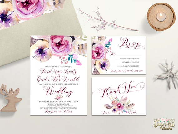 watercolor wedding invitation printable boho floral wedding etsy
