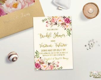Floral Bridal Shower Invitation Printable Boho Bridal Shower Invite Romantic Bridal Party invite Faux Gold Foil Typography Bridal Shower Set