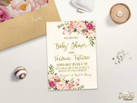 Floral Baby Shower Invitation Printable Pink Gold Baby Shower Etsy