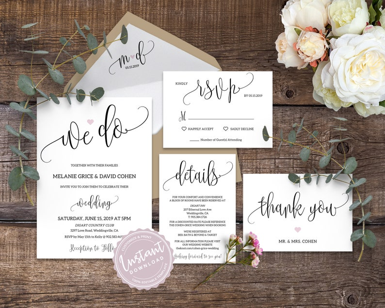 We Do Wedding Invitation Template Simple Printable Suite Editable Calligraphy Heart Elegant Rustic Invite Set