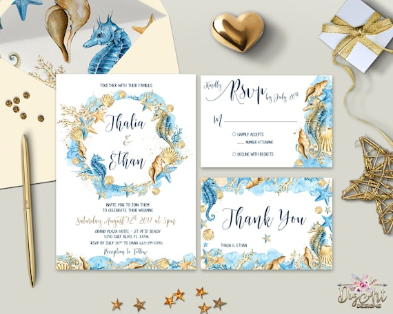 Boho Beach Wedding Invitation Printable Destination Wedding Etsy