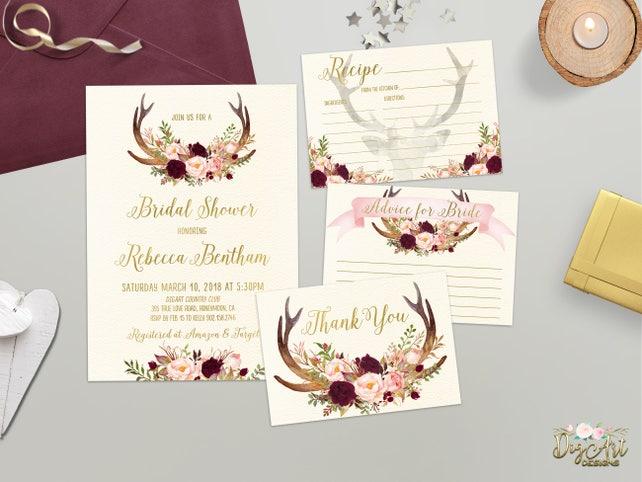 6c55cf15ddc1 Floral Antler Bridal Shower Invitation Burgundy Gold Blush Boho Rustic  Bridal Shower Invite Printable Deer Horn Bridal Set Digital   Printed