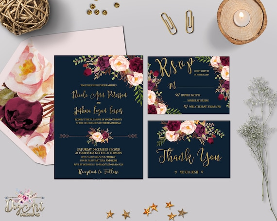 Burgundy And Gold Wedding Invitations: Navy Burgundy Wedding Invitation Printable Boho Floral