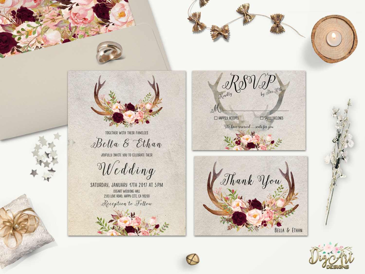 photo relating to Wedding Cards Printable identify Rustic Wedding ceremony Invitation Printable Floral Antler Marriage ceremony Invitation Suite Deer Antler Wedding ceremony Invite Boho Woodland Wedding ceremony Mounted Do it yourself/ Published