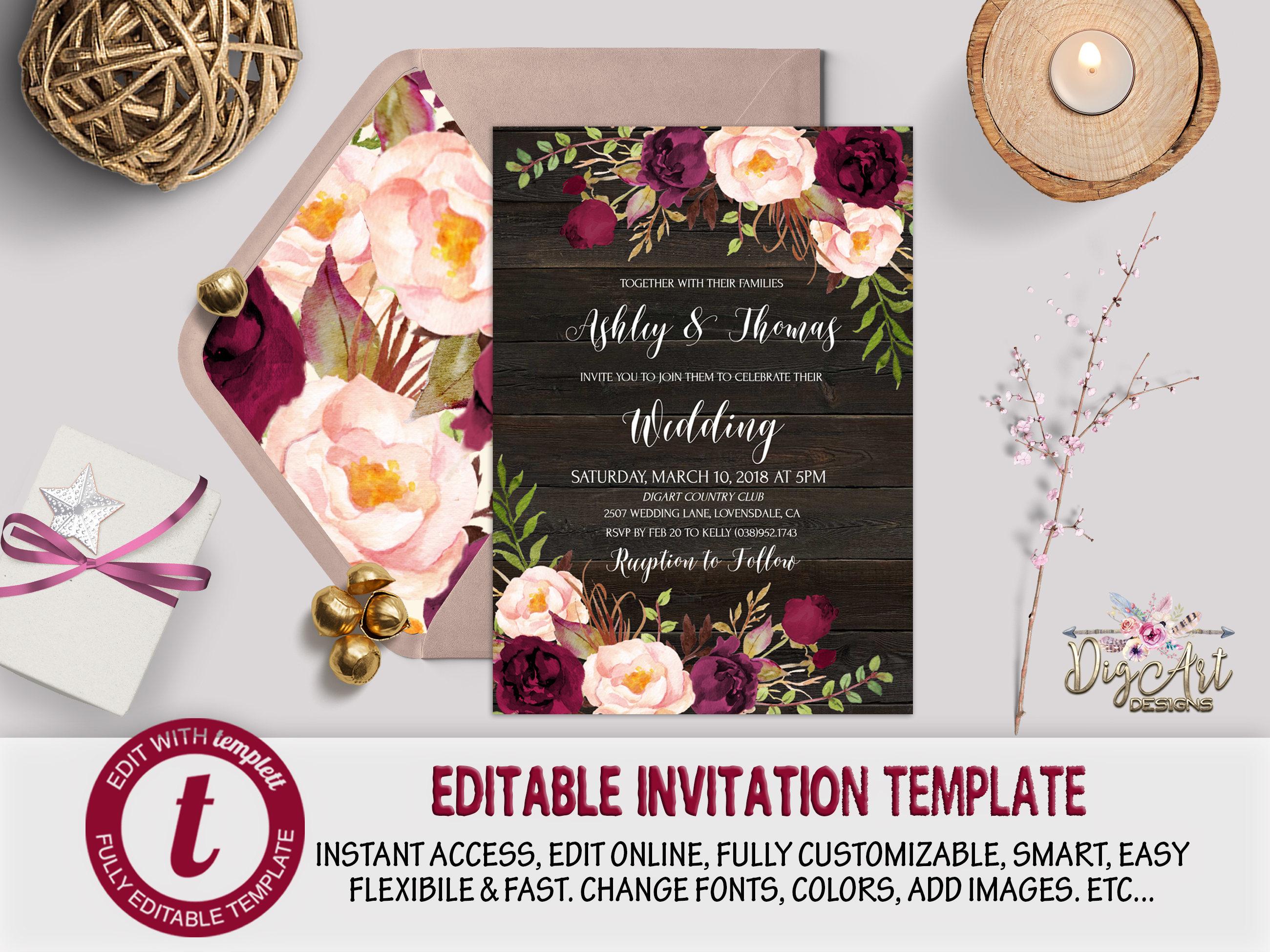 Burgundy Blush Floral Wedding Invitation Template Editable Etsy