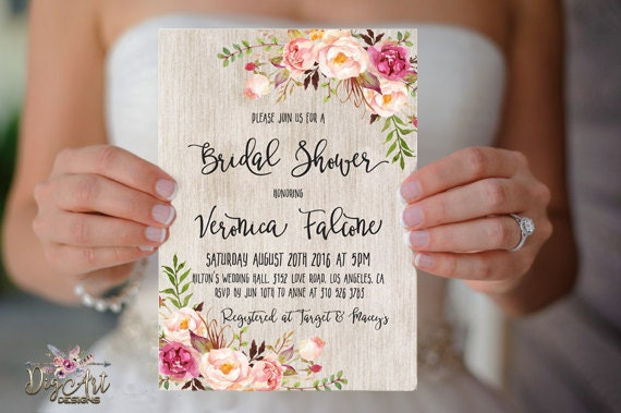 08c7f14332d4 Floral Bridal Shower Invitation Printable or Printed Rustic