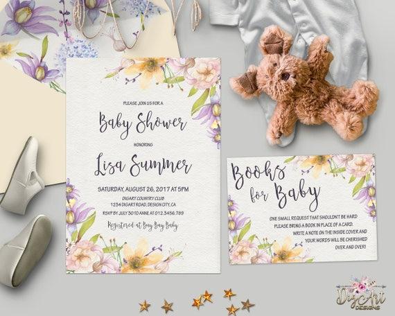 Floral Baby Shower Invitation Printable Gender Neutral Boho Etsy