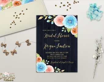 Floral Bridal Shower Invitation Printable Boho Chic Bridal Shower Invite  Navy Gold Bridal Shower Pink Blue Peach Bridal Invite Digital File