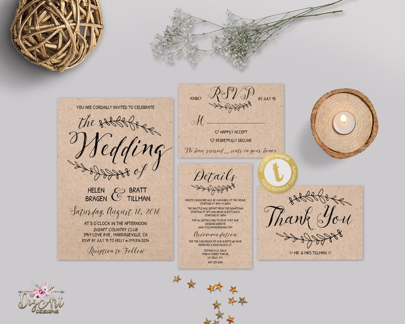 photo about Printable Rustic Wedding Invitations referred to as Rustic Marriage ceremony Invitation Template Printable Traditional Wedding ceremony Invitation Fastened, Editable Uncomplicated Kraft Wedding ceremony Template Suite Immediate, TEMPLETT