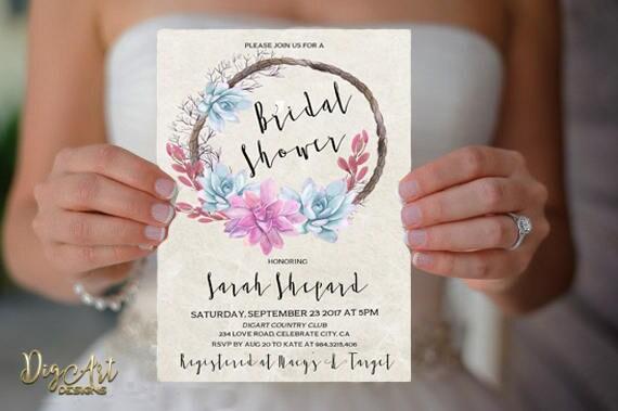 Romantic bridal shower invitation printable rustic bridal etsy image 0 filmwisefo