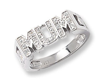 Sterling Silver Ladies Family Ring Gift Boxed Ring Ladies/' Curb Side MUM CZ Silver Ring L-Z Sizes 4.0 Grams