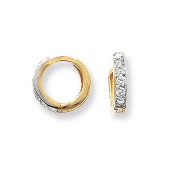 Gift Boxed Earring HINGED CZ EARRINGS Genuine 9CT Yellow Gold Earrings 1.3 Grams Gold Hoop Earrings