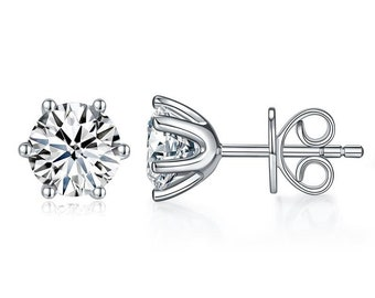 1 Carat Moissanite Diamond 6 Claws Stud Earrings 925 Sterling Silver - Gift Boxed
