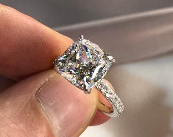 5 Carat Cushion Created Diamond 925 Sterling Silver Engagement Wedding Ring