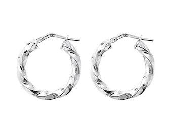 Sterling Silver Hoop Earrings - Silver 15mm Twisted Hoop Earrings 2.80 Grams - Gift Boxed