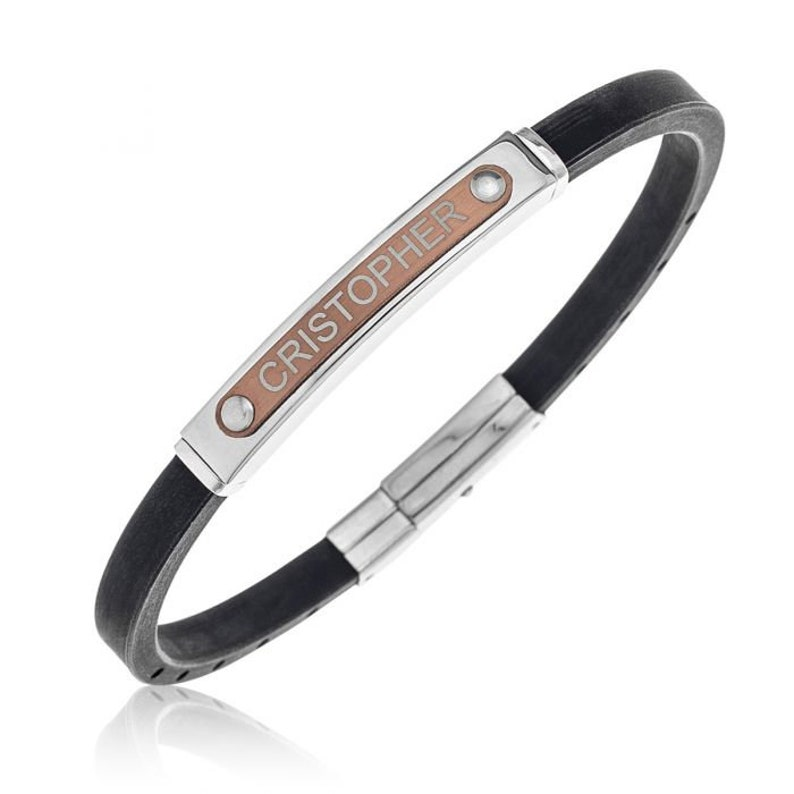 Rose Gold Plated Stainless Steel Gent/'s Personalised One Name Black Rubber Bracelet