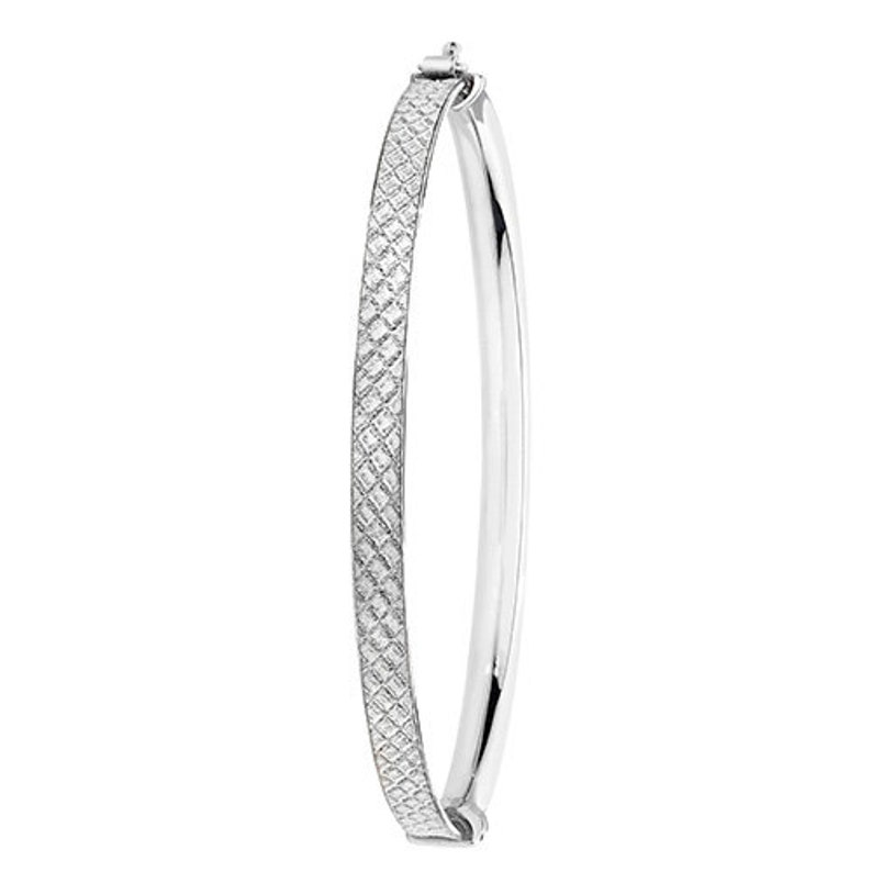 Sterling Silver Ladies Oval Moondust Hinged Bangle 6.12 Grams Gift Boxed