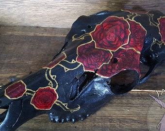 Gold-trimmed Roses - Elk Skull - bone,roses,flowers,gift,decor,oddity,strange,unusual,unique,vulture culture,painting,acrylic,witchy,gothic.