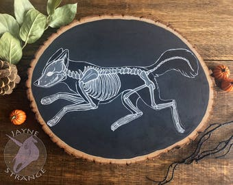 X-Ray Fox - Wood Art - Painting,acrylic,gift,bone,skeleton,oddity,unique,strange,fox,wood,unusual,wall art,original,hand made.
